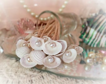 30 Pearl & Seashell Toothpick Skewer Pick Wedding Dinner Cocktail Hors d'oeuvre Appetizer Beach Party Candy Bar Tea Shower Food Shell Gift
