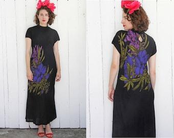 Vintage 80s Dress | 80s Black Bias Cut Long Dress Large Scale Floral Print | Large L