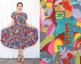 Vintage 80s Dress | 80s Art Inspired Print Dress Full Skirt | Small S Medium M