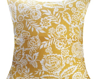 Designer handmade deco mustard floral summer home luxury interior cushion cover 16 , 18 , 20 , 22 , 24 ""
