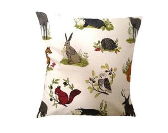 "Designer handmade animal woodland fox rabbit forest scandinavian cushion cover 16 , 18 , 20 , 22 , 24 """