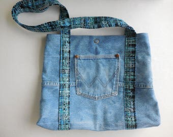 Upcycled Denim Shoulder Bag Wrangler, Denim purse, Hobo bag, Recycled Denim Tote, jean purse, handmade pocketbook, cross hatch interior