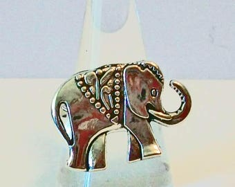 Unique Luck Elephant Aged Silver Fashion Ring Adjustable Band
