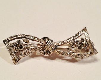 ON SALE - Vintage Bow Shaped Sterling Silver Brooch/Pin with Marcasite