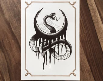 LIMITED Snake Moon  - Tattoo print 50/50 signed