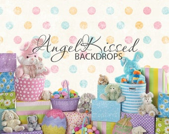 Easter Photography Backdrop, bunny, bunnies, eggs, baskets, polka dots, springtime, gifts, pastel, Angel Kissed, 8x8 sweatshirt material