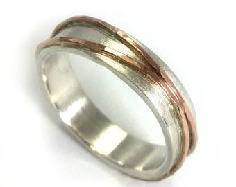 Woman's wedding ring, narrow band, sterling silver band with two rose gold stripes soldered on top, comfortable ring, Ilan Amir Jewelry