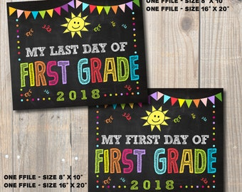 """First and Last Day of First Grade Sign 2018, School Chalkboard Digital Printable Signs 8""""x 10"""" and 16""""x 20"""""""