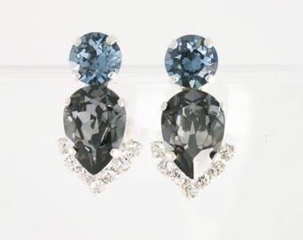 Something blue,blue and gray earrings,teardrop earrings,statement earrings,Swarovski earrings,blue and black earrings,vintage style earrings