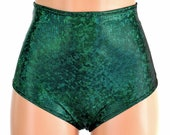 """High Waist """"Siren"""" Hot Pants in Green Shattered Glass Holographic Spandex Rave Festival Clubwear Sexy - 154665"""