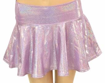 Lilac Purple Holographic Metallic Circle Cut Mini Skirt Rave Festival Clubwear EDM  -150624