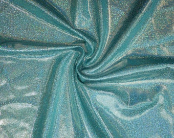 Solid Seafoam Holographic Spandex Fabric Beachy Seaside Sparkly Fairy Kei Decora Turquoise Unicorn Sprite Nymph Ocean Eggshell (By the Yard)