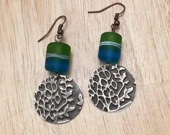 Blue & green embossed brass earrings