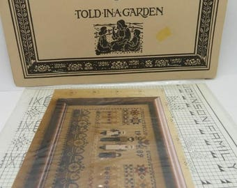 ON SALE! Vintage 1980s Told in A Garden Counted Cross Stitich Pattern: Settler's Sampler