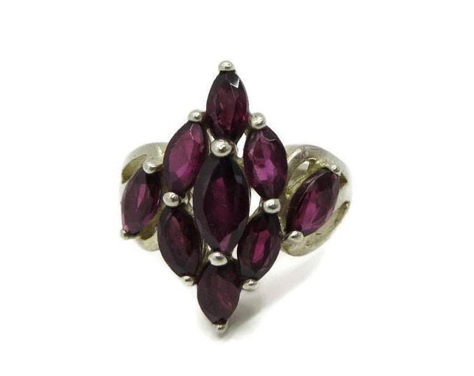 Sterling Silver - Faux Garnet Statement Ring, Vintage Sterling Silver Nine Stone Ring, Cocktail Ring, Size 5, FREE SHIPPING
