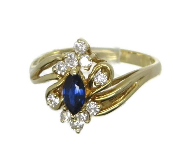 Vintage 14K Gold Sapphire Ring, Sapphire and Diamond Ring, Multistone Ring, Engagement Ring, Cocktail Ring, Size 6