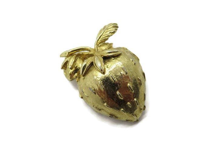 Goldtone Strawberry Brooch, Vintage Fruit Pin, Golden Strawberry Pin, Gift for Her, FREE SHIPPING