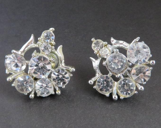 Coro Bridal Earrings, Rhinestone Silver Tone Screw Back, Formal Wear, Vintage Signed Coro Jewelry