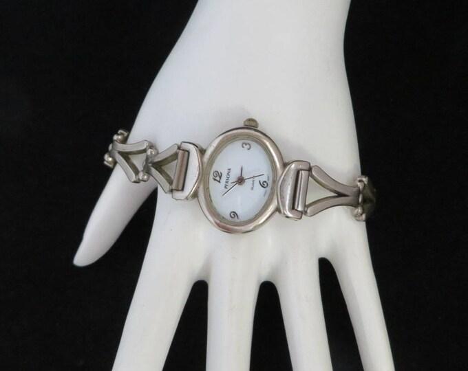 Persona Ladies Watch, Silvertone Link Watch, Vintage Wrist Watch, Collectible Watch