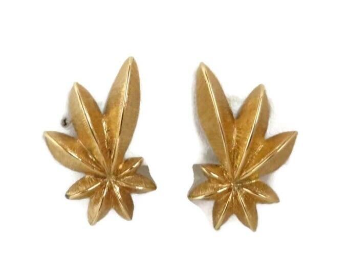 Vintage Monet Earrings - Matte Gold Tone Earrings Flowery Clip Ons Vintage Estate Jewelry Gift Idea Designer Signed Runway