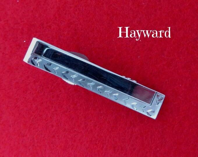 Vintage Tie Bar - Hayward Silver Tone Tie Clip, Men's Suit Accessory, Designer Signed GIft Idea