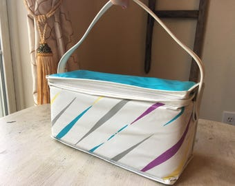 Vintage Vinyl Soft Insulated Lunch Bag Cooler, Turquoise with Stripes Cooler, Lunch Tote, 1980, Lunch Box, 6 Pack Cooler, VIntage Picnic