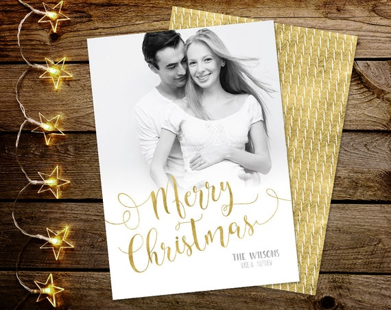 Christmas Card with Photo, Merry Christmas Card, Photo Holiday Card, Printable Christmas Card, Gold Christmas Card, Xmas Card