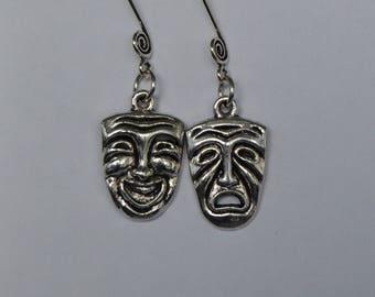 Comedy-Tragedy Swirl Ear Wire Earrings