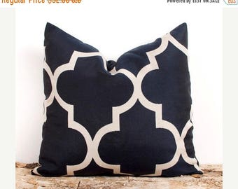 SALE ENDS SOON Two Navy Pillow Cover. 22 x 22 inch. Dark Blue Lattice Cover. Pillows. Home Decor Accents. Stripes. Quatr