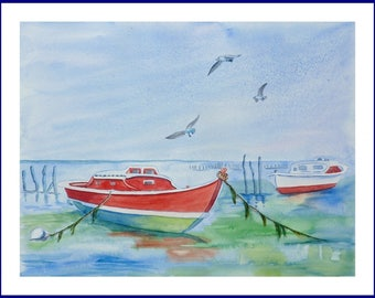 WATERCOLOR - Flight of gulls on the basin