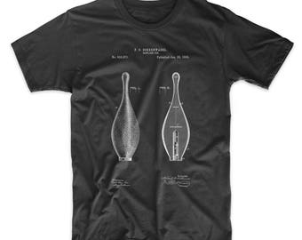 Vintage Bowling Pin Patent T Shirt, Bowling Party, Sports Shirt, Bowling Decorations, PP0652