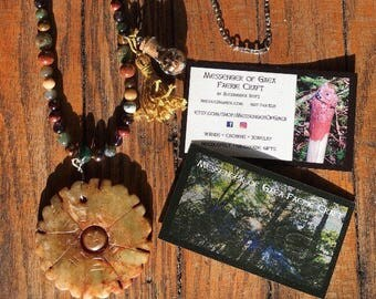 Carved Soapstone Pendant Beaded Dream Herb Tasske Necklace