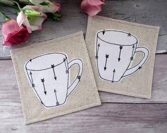 Coffee Coasters, Mug Coasters, Fabric Coasters, Housewarming Gift, Arrow Coasters, Tea Coasters, Table Decor, Drink Coasters, Hostess Gift