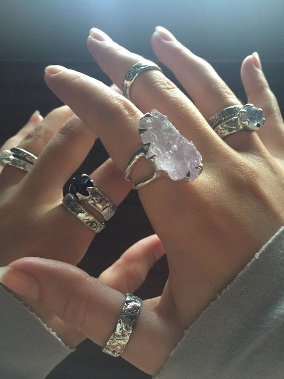 Solid Sterling Silver Rough Kunzite Ring Huge Gemstone Beautifully Flash Double Banded