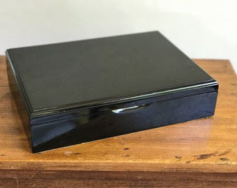 Vintage Black Lacquered Jewelry Box