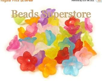 SALE 13 mm x 7 mm Lucite Flower Bead Mix - 50 pcs