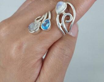 Blue Topaz & Moonstone Ring