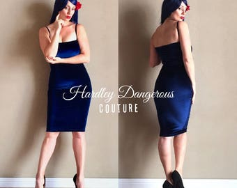 Midnight Navy Blue BARDOT Stretch Velvet Pencil Dress with Adjustable Black Bra Straps, handmade by Hardley Dangerous Couture, Rock n Roll
