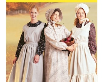 7220, McCalls,  Women's, Pilgrim, Colonial, Puritan, Little House on the Prairie, Peasant Early American Historical Pattern dress and bonnet