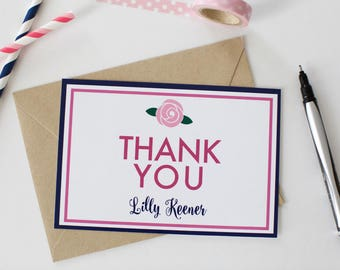Pink and Navy Child's Custom Thank You Note