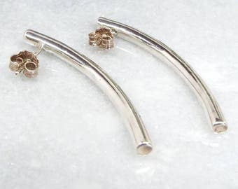Vintage Sterling Silver Modernistic Long Curved Bar Stud Earrings 925
