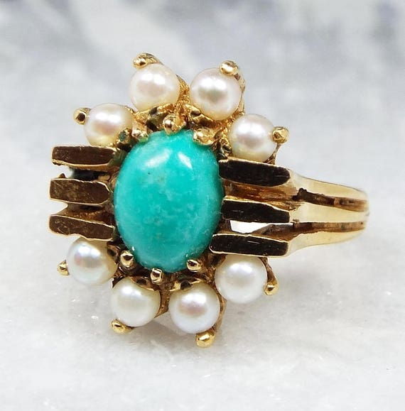 Vintage 1969 9ct Yellow Gold Art Deco Turquoise Pearl Statement Ring / Size M