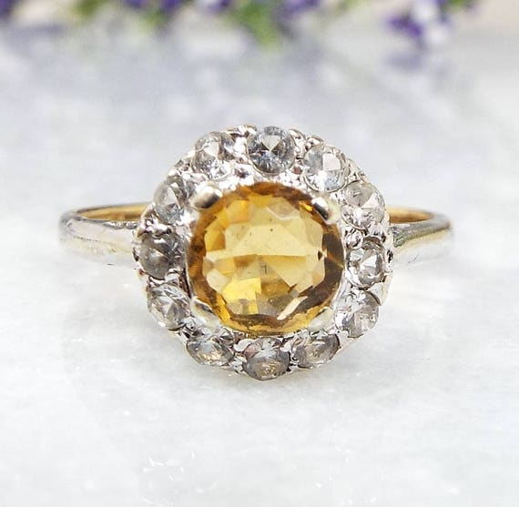 Vintage 9ct Yellow and White Gold Citrine and Spinel Daisy Cluster Ring / Size L 1/2