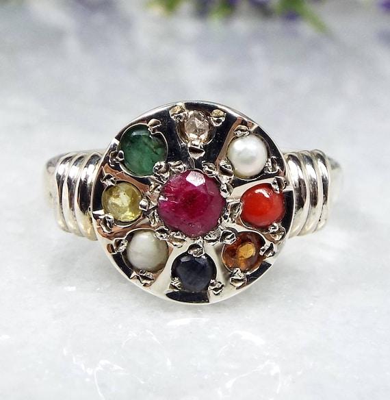 Vintage Sterling Silver Navaratna The 9 Planets Multi Gemstone Ring India / Size R 1/2