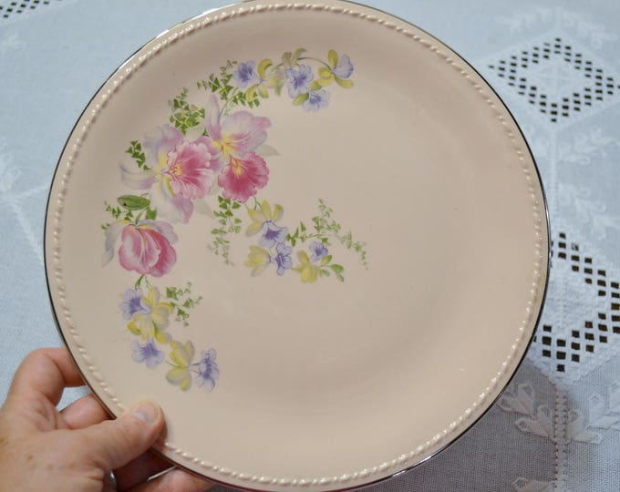 Vintage Taylor Smith Taylor Pink Dinner Plate Set of 5 Orchid Iris Floral Pattern TST193 Replacement PanchosPorch
