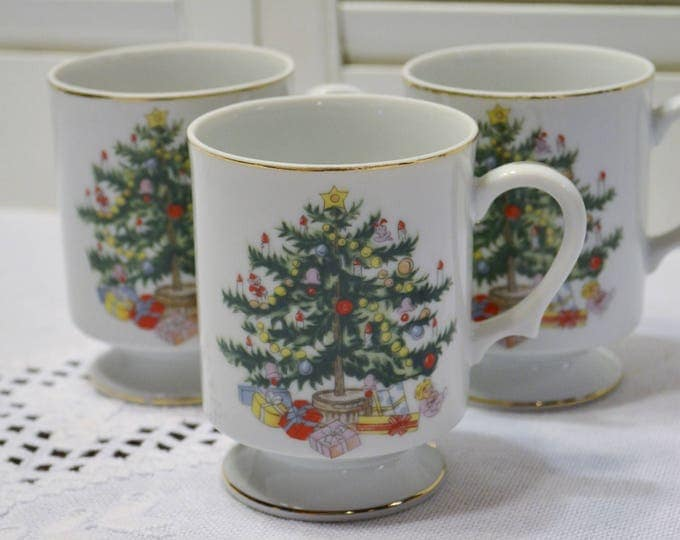 Vintage Footed Coffee Mug Cup Christmas Tree Set of 3 Porcelain Holiday Decor Replacement PanchosPorch