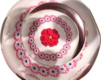 Signed Caithness Scottish Studio Glass Paperweight Rose
