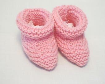 Bright Pink Baby Booties. Hand Knit Baby Gift
