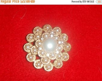 ALL ON SALE Lovely round Faux Pearl Brooch , By Sarah Coventry