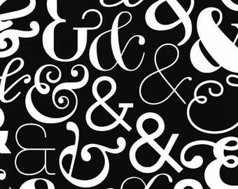 Fat Quarter Ampersand - Large Ampersand in White - Cotton Quilt Fabric - Ampersand Design Studio for Windham Fabrics - 39743-2 (W3568)